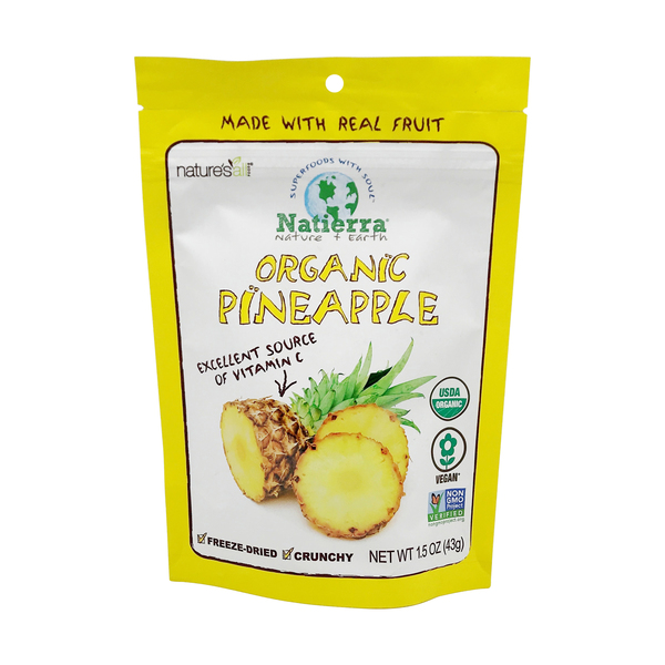 Nature's all Organic Freeze-dried Pineapples, 1.5 oz
