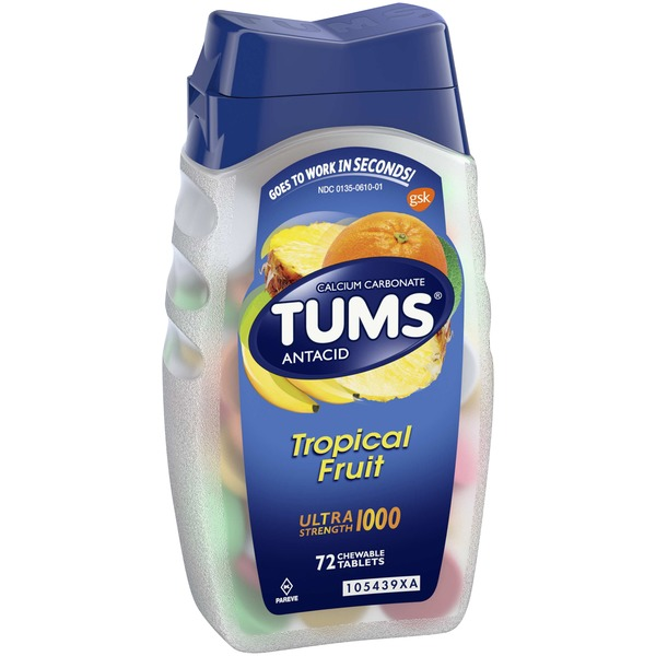 Tums Antacid Ultra Strength Chewable Tablets Tropical Fruit - 72 CT