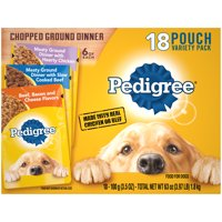 (18 Pack) PEDIGREE Chopped Ground Dinner With Hearty Chicken, Slow Cooked Beef, and Beef, Bacon & Cheese Wet Dog Food Variety Pack, 3.5 oz. Pouches