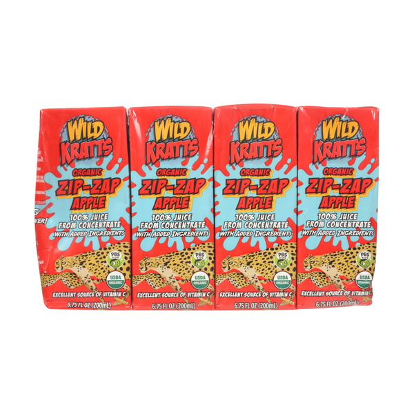 Wild kratts Organic Zip-zap Apple Juice Boxes, 8 ct