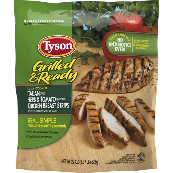 Tyson Grilled and Ready Italian Herb and Tomato Frozen Chicken Breast Strips - 22oz