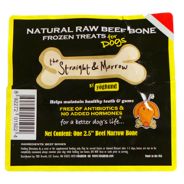 Yoghund Natural Raw Beef Bone Frozen Treat For Dogs The Straight & Marrow