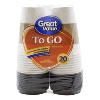 Great Value Everyday To Go Cups, Lids & Sleeves, 16 fl oz, 20 Count
