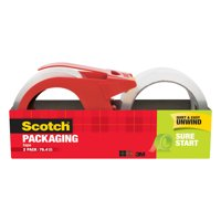 Scotch Sure Start Shipping Packaging Tape Dispenser Value Pack, 1.88 in. x 38.2 yd., 2 Count