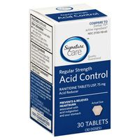 Signature Care Acid Control, Regular Strength, 75 mg, Tablets