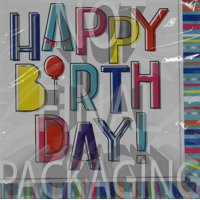 Foil Colorful Happy Birthday Party Lunch Napkins, 16ct