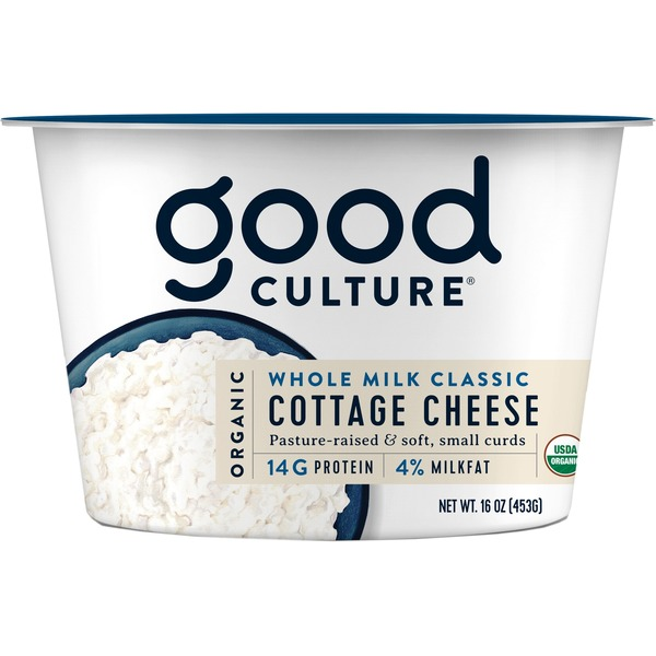 Good Culture Cottage Cheese, Small Curd, 4% Milkfat, Organic, Whole Milk Classic