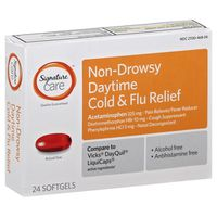 Signature Cold & Flu Relief, Daytime, Non-Drowsy, Softgels