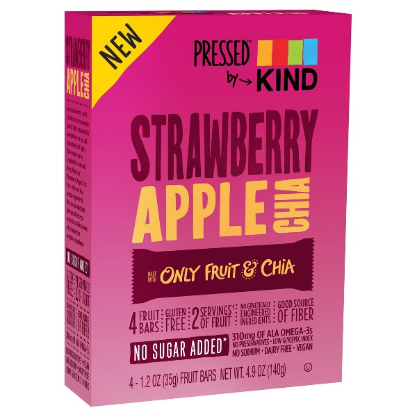 Pressed by KIND Strawberry Apple Chia Bars - 4ct