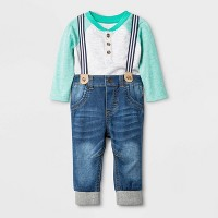 Baby Boys' Long Sleeve Top & Denim Suspender Bottom Set - Cat & Jack™ Gray/Blue