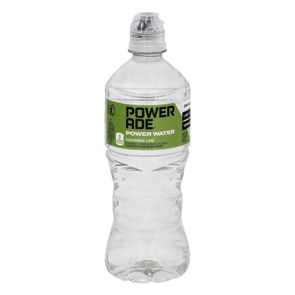 Powerade Power Water, Cucumber Lime, Zero Sugar Zero Calorie Ion4 Electrolyte Enhanced Fruit Flavored Sports Drink Bottled Water, W/ Vitamins B3, B6, And B12