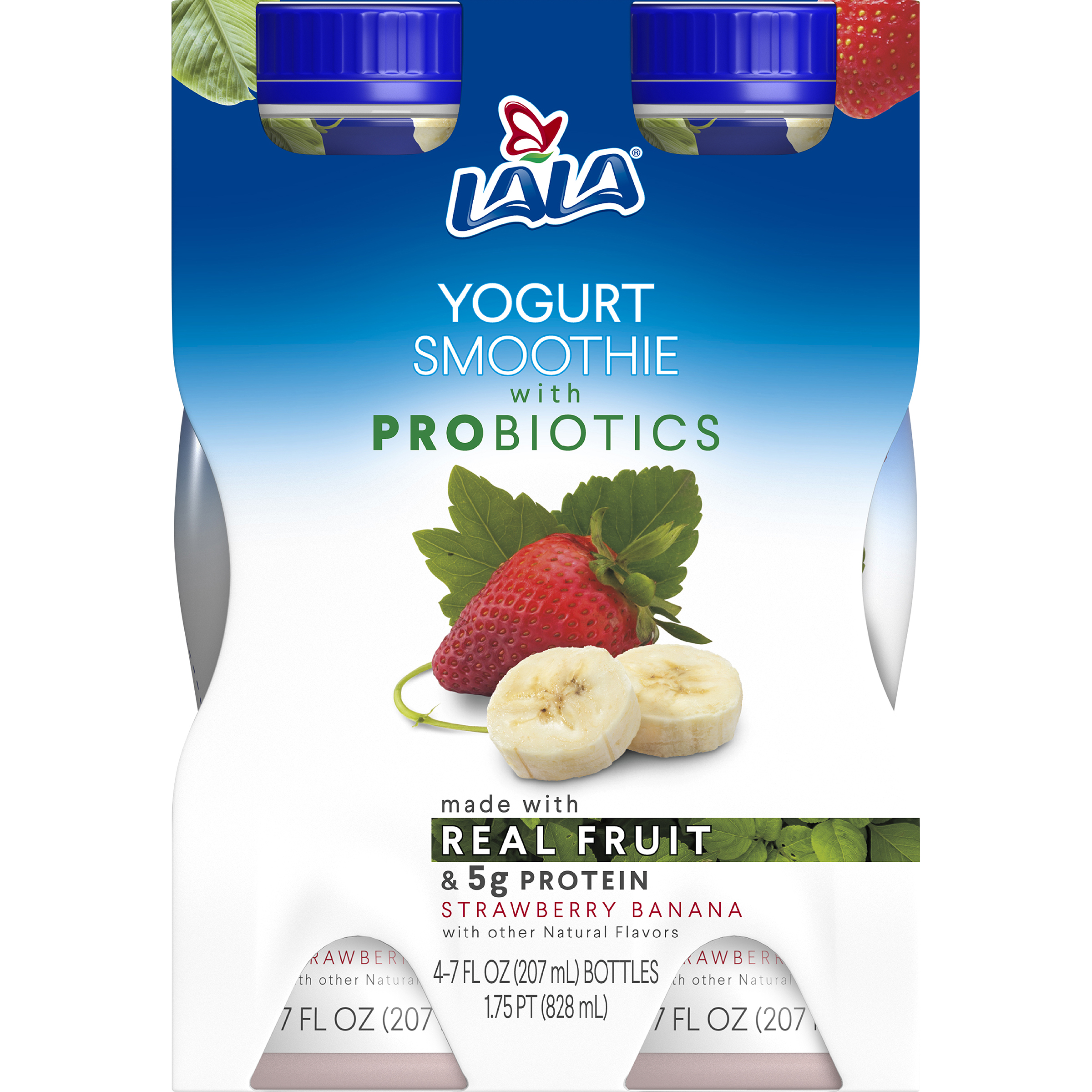 LALA Drinkable Yogurt Smoothie with Probiotics, 5g of Protein, Strawberry Banana, 7-Ounce Bottles (Pack of 4)