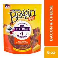Purina Beggin' Strips Dog Training Treats, Bacon & Cheese Flavors - 6 oz. Pouch