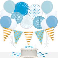Way to Celebrate Baby Boy 36-Piece Decorations Kit, Blue & Gold