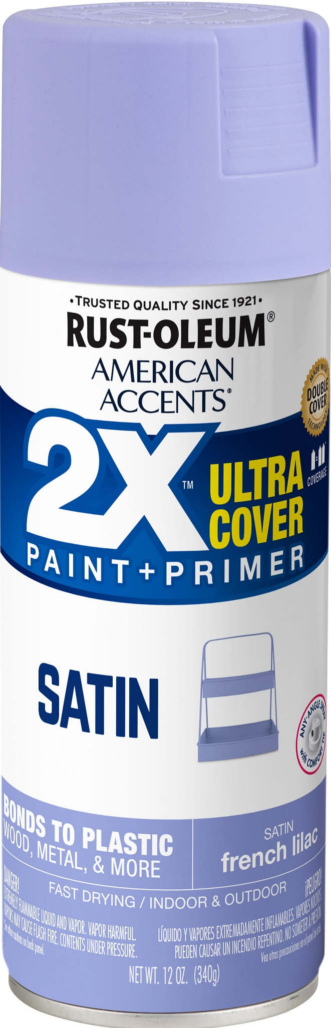 (3 Pack) Rust-Oleum American Accents Ultra Cover 2X Satin French Lilac Spray Paint and Primer in 1, 12 oz
