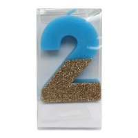 Number 2 Glitter Candle Blue/Gold - Spritz™