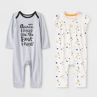Baby Girls' 2pk Romper - Cat & Jack™ Gray/White