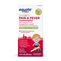Equate Infant's Pain & Fever, Acetaminophen 160 mg, Dye Free Cherry Flavor, 2oz