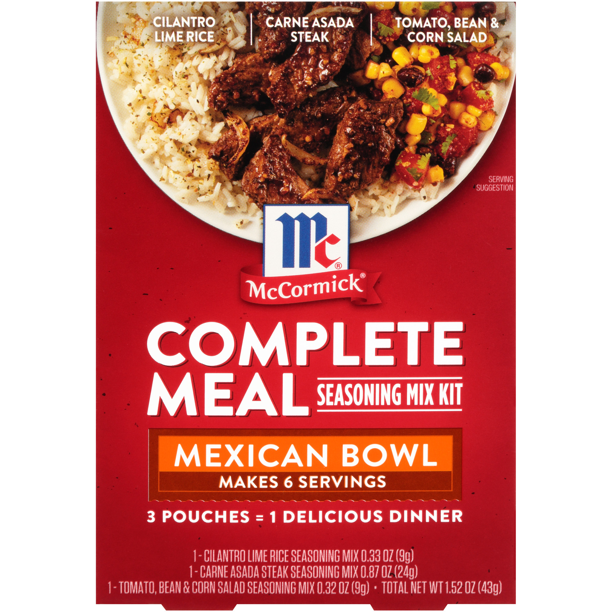 McCormick Mexican Bowl Dinner Complete Meals, 1.52 oz