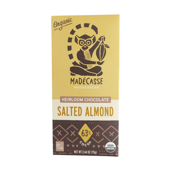 Madecasse Salted Almond 63% Dark Chocolate Bar, 2.64 oz