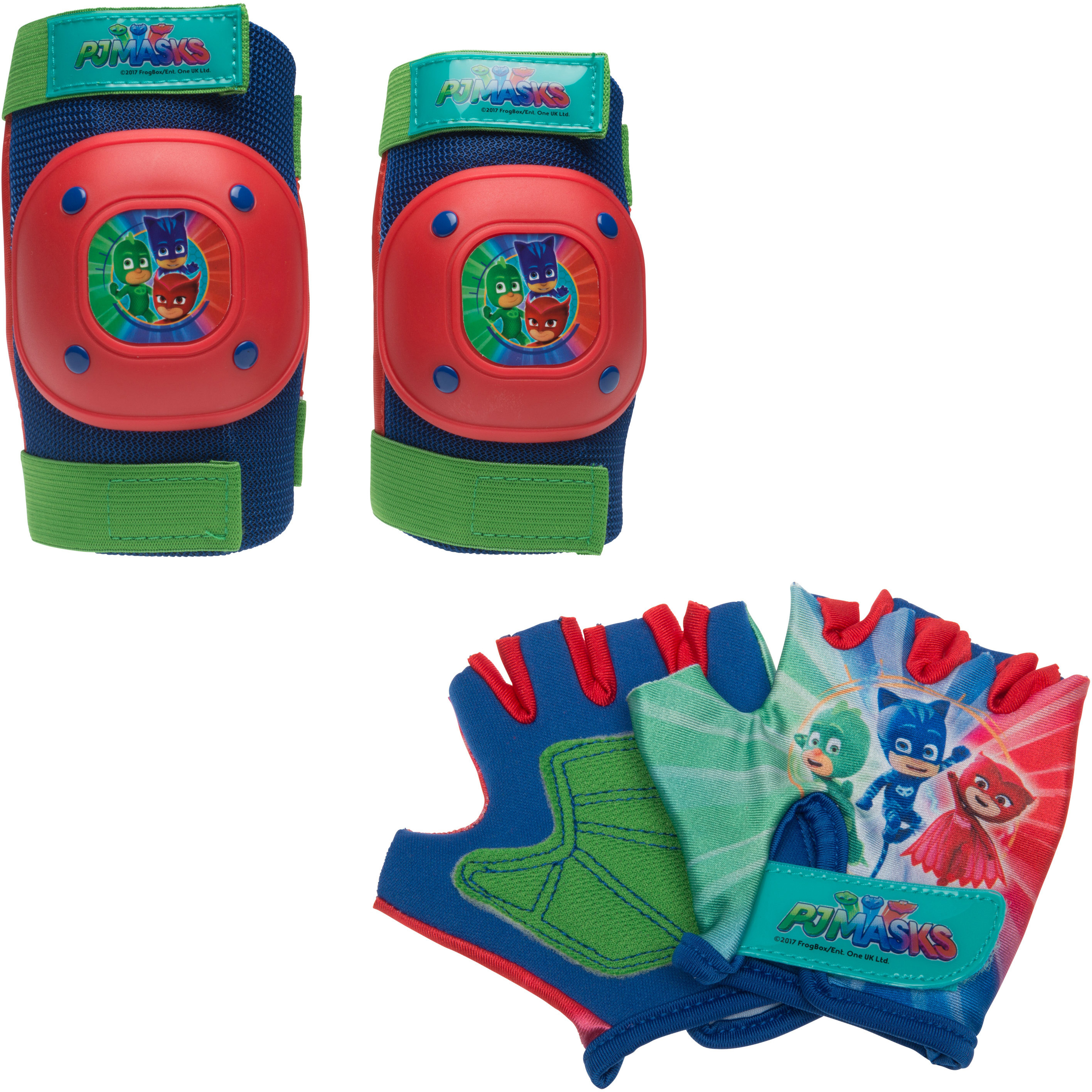 Bell Sports PJ Masks Protective Pad and Glove Set, Blue/Green/Red