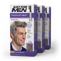 Just For Men Touch of Gray, Gray Hair Coloring for Men's with Comb Applicator Great for a Salt and Pepper Look - 3pk