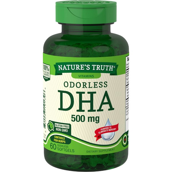 Nature's Truth Odorless DHA Dietary Supplement Softgels - 60ct