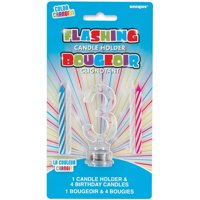 Blinking Number 3 Cake Decoration & Birthday Candles, 5pc