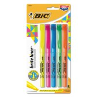 BIC Brite Liner Highlighter, Chisel Tip, Assorted Colors, 5 Count
