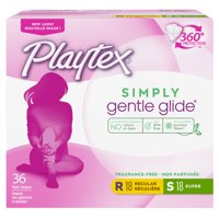 Playtex Simply Gentle Glide Tampons, Unscented, Regular/Super, 36 Ct