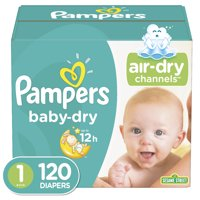 Pampers Baby-Dry Extra Protection Diapers, Size 1, 120 Ct