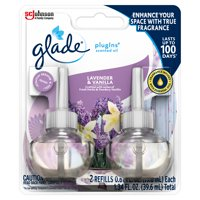 Glade PlugIns Refill 2 CT, Lavender & Vanilla, 1.34 FL. OZ. Total, Scented Oil Air Freshener