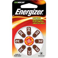 Energizer Hearing Aid Batteries Size 312, 8 Pack, Brown Tab