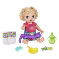 Baby Alive Happy Hungry Baby Blonde Curly Hair Doll, 50+ Sounds, Phrases, Eats, Poops, Drinks, Wets, for Kids Ages 3+