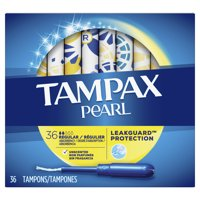 TAMPAX Pearl, Regular, Plastic Tampons, Unscented, 36 Count