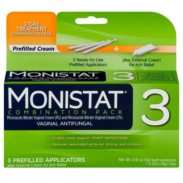 Monistat 3-Day Yeast Infection Treatment, Prefilled Applicators, Itch Cream, Combination Pack
