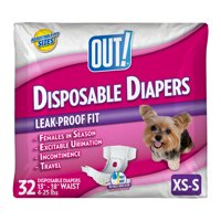 OUT! Pet Care Disposable Female Dog Diapers | Absorbent with Leak Proof Fit | XS/S, 32 ct