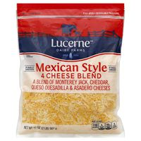 Lucerne Dairy Farms Finely Shredded Mexican Style 4 Cheese Blend Of Monterey Jack, Cheddar, Queso Quesadilla & Asadero Cheeses