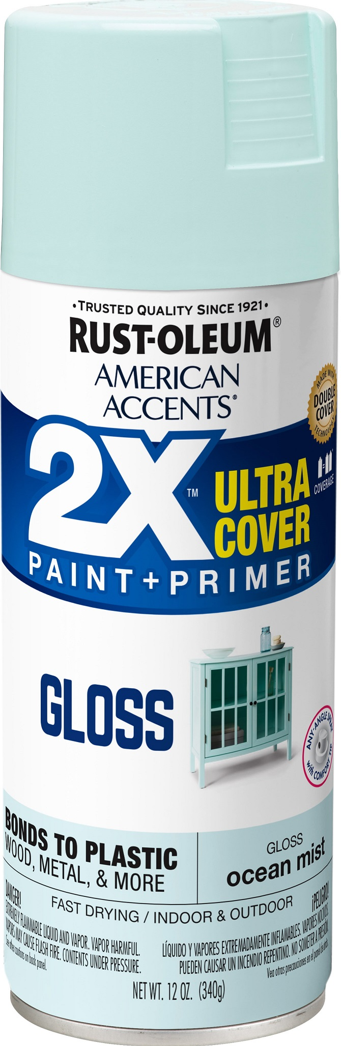 (3 Pack) Rust-Oleum American Accents Ultra Cover 2X Gloss Ocean Mist Spray Paint and Primer in 1, 12 oz