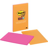 Post-it Super Sticky Lined Notes 2 Pack, 5in. x 8in., Rio de Janeiro Collection, 2 Pads per Pack, 45 Sheets per Pad, 90 Sheets Total