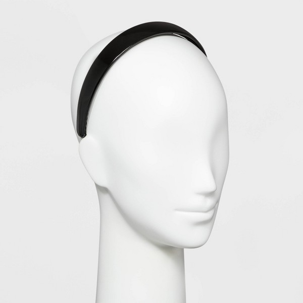 Wide Faux Leather Cover Plastic Headband - Wild Fable™ Black