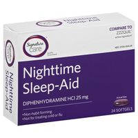 Signature Sleep-Aid, Nighttime, 25 mg, Softgels