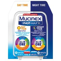 Mucinex Fast-Max Maximum Strength Day Time and Night Time All-in-One Cold and Flu Caplets - 30 Caplets