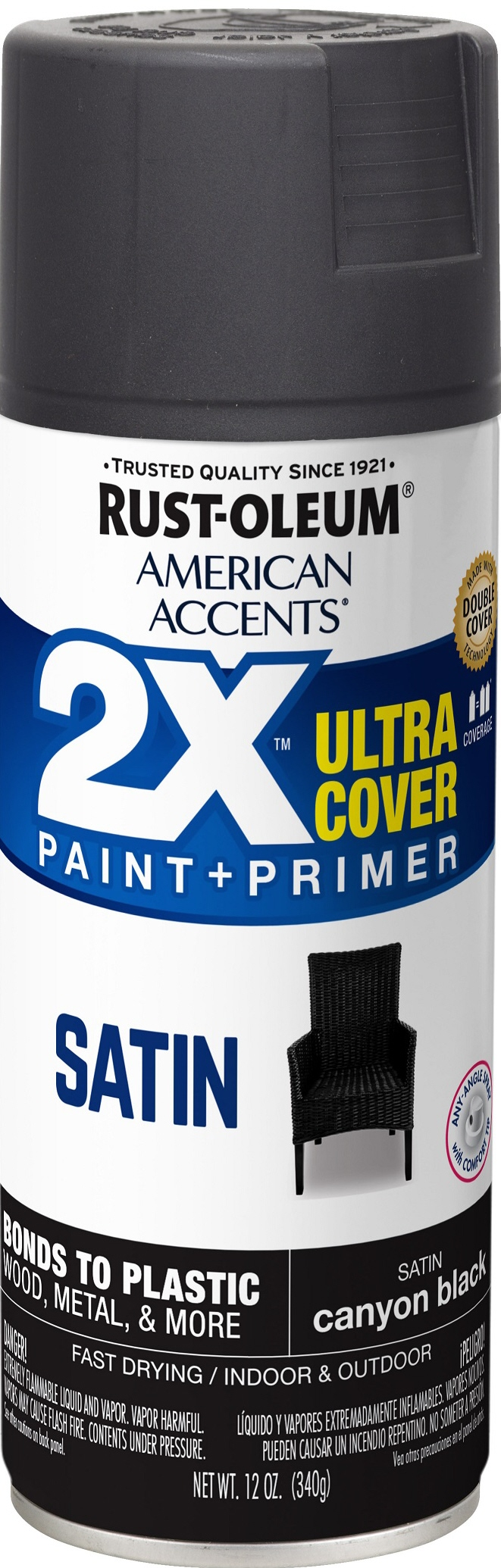 (3 Pack) Rust-Oleum American Accents Ultra Cover 2X Satin Canyon Black Spray Paint and Primer in 1, 12 oz