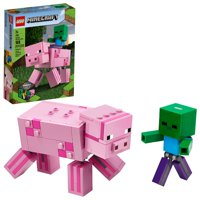 LEGO Minecraft Pig BigFig and Baby Zombie 21157 Building Set for Play-And-Display (159 Pieces)