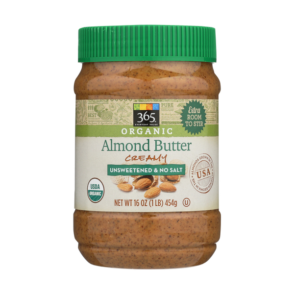 365 Everyday Value® Organic Creamy Almond Butter - Unsweetened & No Salt, 16 oz