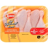 Tyson All Natural Antibiotic Free Chicken Drumsticks - 1.14-2.58lbs - priced per lb