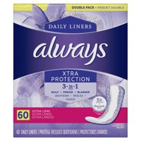 Always Xtra Protection 3 in 1 Daily Liners, Extra Long, 60 Count