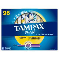 Tampax Pearl Advanced Grip Regular Absorbency Tampons, 96 ct