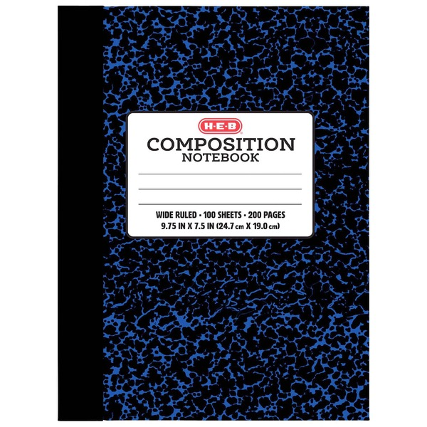H-E-B Blue Wide-Ruled Composition Notebook